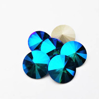 Six Emerald Glacier Blue 1122 12mm Foiled Swarovski Pointed Back Rivoli DKSJewelrydesigns