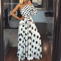 White Party Dress Women Summer New One Shoulder Polka Dot Sexy Dress Ladies Long Sleeve Tunic A Line Long Dresses For Women free shipping