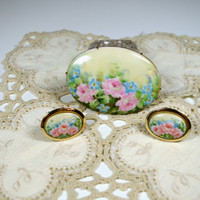 Vintage Painted Flower Cameo Pin With Matching Painted Flower Cameo Cufflinks Unique Gift Set Cameo Gift Set Painted Cameo Jewelry