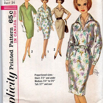Simplicity 5191 Sewing Pattern 1960s Mad Men Style Retro Mod Wiggle Dress Casual Shirtdress Long Short Sleeves Bust 34