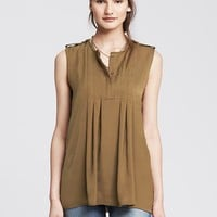 Heritage Box Pleat Sleeveless Blouse
