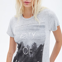 FOREVER 21 City Of Angels Graphic Tee Heather Grey/Black