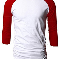 TL Men's Basic Crew Neck Cotton 3/4 sleeve Essentail Raglan Baseball Tee Shirts (LARGE, RED_WHITE)
