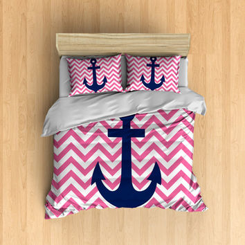 Chevron Anchor Bedding- Pink Chevron Bed, Navy Anchor, Sailing Bedding, Anchor Bedding, Chevron Anchor, Pink Chevron Anchor Bed, Cute Bed
