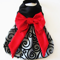 Dog Dress Holiday Fancy Party Dress Black Velvet Swirls with a Red Bow Chihuahua ShihTzu Yorkie Christmas
