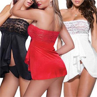 Porn Sexy Lingerie Corset with G-string V-String Underwear Lace Sleepwear Nightie Nightdress Babydoll Costumes Set For Woman