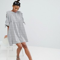 Monki Stripe Tie Sleeve Smock Dress at asos.com