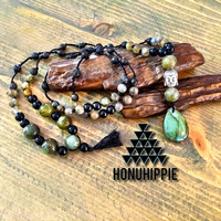 Boho Mala Labradorite buddha necklace, yoga meditation jewelry