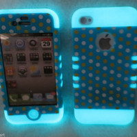 Glow In the Dark & Polka Dots  4 4S Case ishield Hybrid Snap On Cover