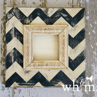 "Handmade Solid Wood Picture Frame Chevron Custom Distressed 4x4""- Black and Cream-Instagram Frame"