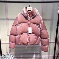 """Moncler"" Women Fashion Logo Embroidery Long Sleeve Zip Cardigan Turtleneck Bread Down Jacket Coat"