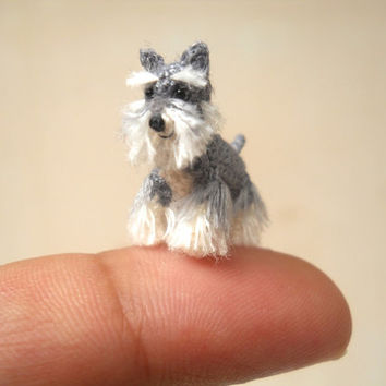 Miniature Schnauzer - Micro amigurumi Tiny Crochet Dog - Made To Order
