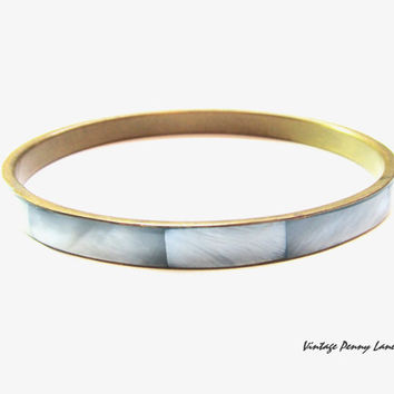 Vintage Brass Bangle Bracelet / Blue Mother of Pearl Shell
