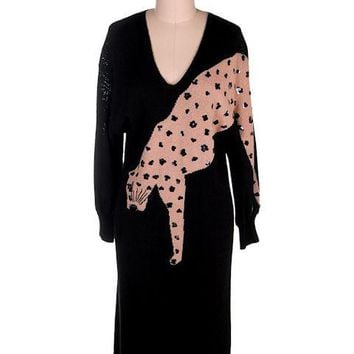 Antonella Preve Black Knit Dress Intarsia Leopard Cheetah Cat Motif Slinky Small