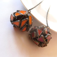 Stained glass statement necklace copper wire jewelry one of a kind red orange Happy molecule