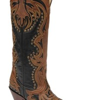 Corral Women's Black & Cognac Laser Inlay Tall Fashion Cowgirl Boots | Women's Boots
