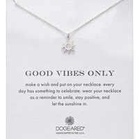 Women's Dogeared 'Good Vibes Only' Sunburst Pendant Necklace