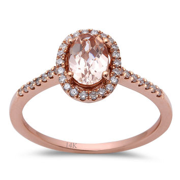 0.78tcw Oval Morganite   Diamond Accents in 14K Rose Gold Halo E. Rings ... d322b83cd63b