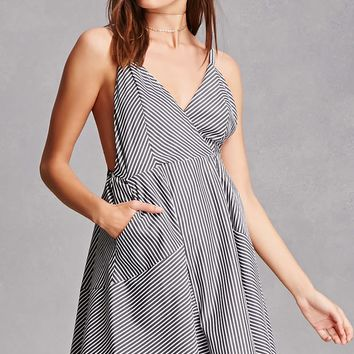 Striped Surplice Cami Dress