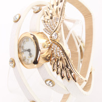 White Wings Pendant Rhinestone Decor Stylish Watch