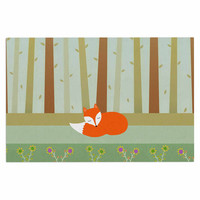 "Cristina bianco Design ""Sleeping Fox"" Green Illustration Decorative Door Mat"