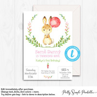 Some bunny is One, Birthday Invitation, First Birthday, Girl 1st Birthday Invites, Bunny Invitations, Template Birthday Party Printable BUN1