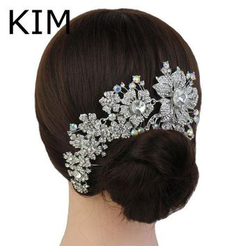 DCCKU62 2015 Promotion Tiara Noiva Winsome Wedding Hair Comb Bridal Accessories Vintage Comb, Rhinestone White, Side Tiara, Crystals