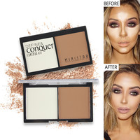 2 Color Face Matte Powder Contour Bronzer Highlighter Palette Set Trimming Powder Brozer Face Contour Grooming Pressed Powder