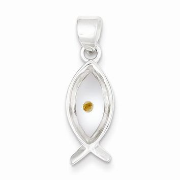 Sterling Silver Enameled with Mustard Seed Ichthus Fish Pendant
