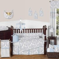 Avery Blue and Gray Damask Baby Bedding 9 Pc Crib Set