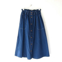 Vintage Blue Skirt. Mini Length Skirt. Button Front Skirt. High Waist Skirt. Bohemian Preppy.