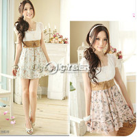 Women's Korean Summer Sweet Clothing Retro Cut Leisure Floral Chiffon Dress DZ88
