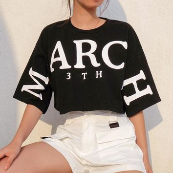 Women Loose Casual Fashion Cool Print Big Letter Short Sleeve T-shirt Crop Tops
