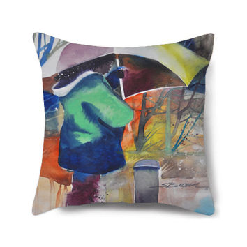 Decorative pillow cover, painted pillow, decorative pillow, green pillow, pillow cover, decorative pillow for couch, Under the Umbrella
