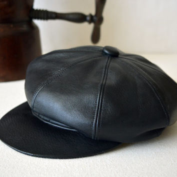 Vintage Style Black Leather Newsboy Cap - Genuine Leather Eight Piece Handmade Bakerboy / Newsboy / Apple / Flat Cap - Men Women