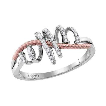 10kt White Gold Women's Round Diamond Pink-tone Rope Spiral Band Ring 1/10 Cttw - FREE Shipping (US/CAN)