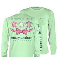 Gliks - Simply Southern Preppy Collection Go Preppy or Go Home Long Sleeve Tee in Mint