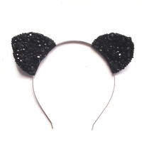 Crown and Glory Hair Accessories — Liberace Kitty Ears - Black