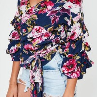 Missguided - Navy Floral Tie Wrap Flared Sleeve Top