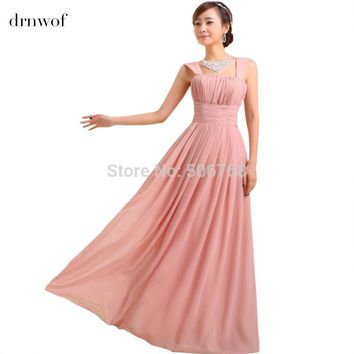 NEW women wedding two shoulder bridesmaid sleeveless chiffon dress Wedding party long lilac aqua dresses plus size under 50 $