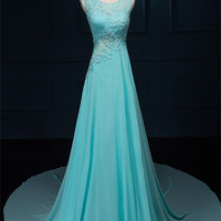Long Lace Beaded Chiffon Modest Empire Prom Dresses ED0718
