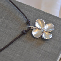 Sterling Silver Flower on Leather - Necklace