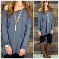 Galloway Dark Grey Piko Long Sleeve Top