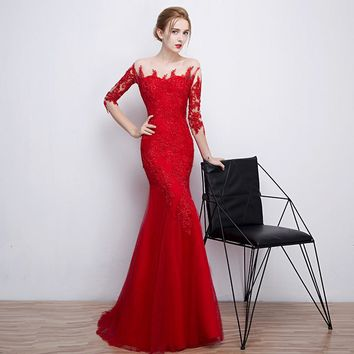 PotN'Patio Red Mermaid Evening Dresses Sexy Boat Neck Half Sleeves Floor-length Long Lace Formal Evening Gown Dress 2017