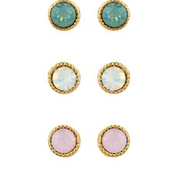 3 x Stone Stud Earrings Set | Pink | Accessorize