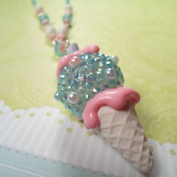 Frosty Bubblegum Kawaii Snowcone Necklace by Lucifurious on Etsy
