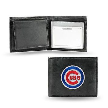 Chicago Cubs Wallet Premium Black LEATHER BillFold Embroidered Bifold Baseball