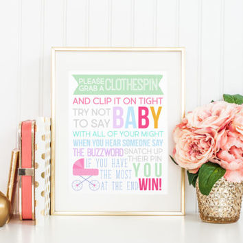 Don't Say Baby Clothespin Baby Shower Game Printable Sign, Directions Printable Digital Wall Art Template, Instant Download, 8x10