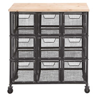 "33"" Tall Iron Storage Cart, Storage Baskets"