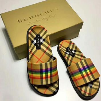 Burberry Rainbow Series Stylish Trending Women Men Slipper Sandals Shoes I-CSXY